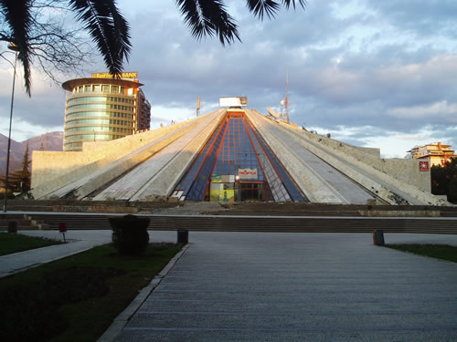 This pyramid is nearby the government buildings. It was originally built by the communist dictator to be buried in, but now it houses a bar and a TV station.