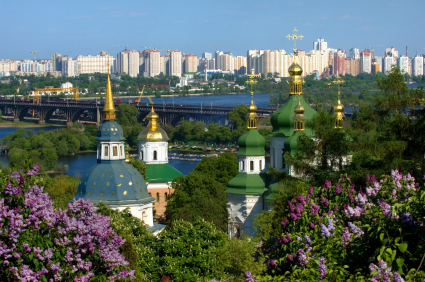 This was clearly not taken during the winter! Lilac bushes with Vidubichi monastery, Kiev, Ukraine